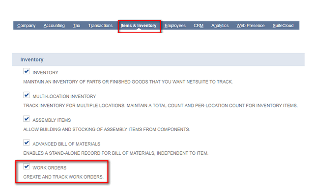 how to handle assembly work orders in netsuite