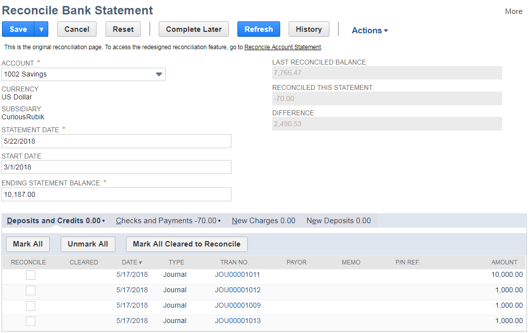 Import Bank Statement & Viewing Matched or Unmatched