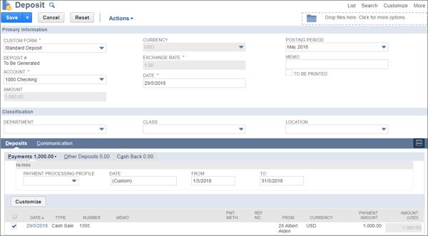 Making Deposits in NetSuite