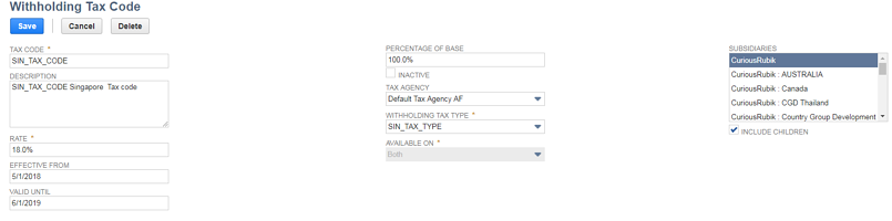 Setting Up Withholding Tax In NetSuite